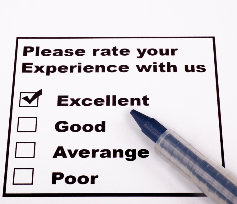 Experience Rating check list with blue pen